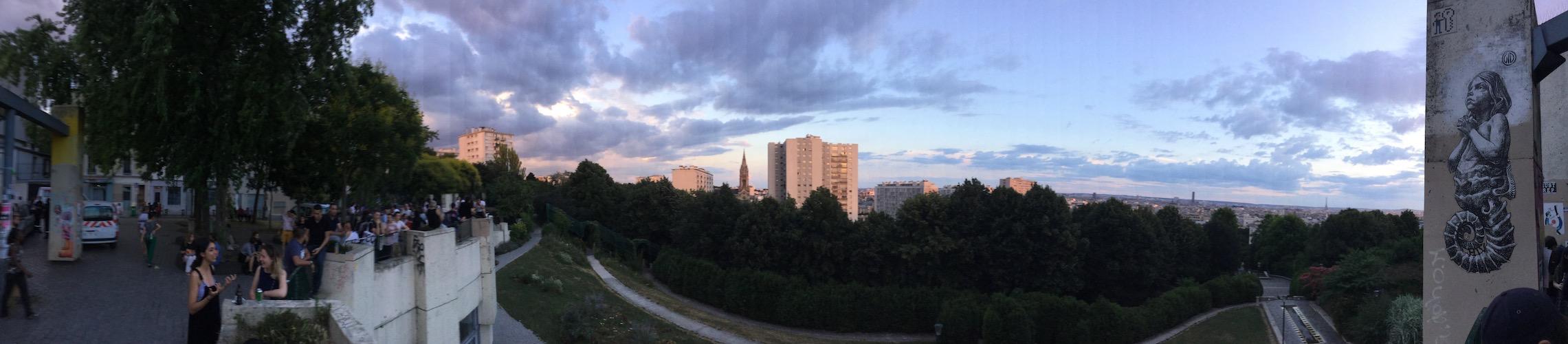 Parc de Belleville, rue des Envierges et rue Piat, Paris