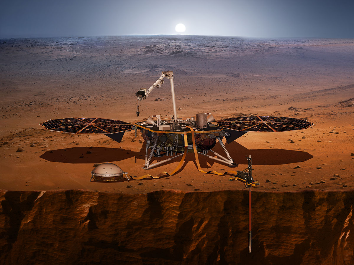 "InSight à la surface de Mars (vue d'artiste) — Source : NASA — Domaine public, This file is in the public domain in the United States because it was solely created by NASA. NASA copyright policy states that ""NASA material is not protected by copyright unless noted"". (See Template:PD-USGov, NASA copyright policy page or JPL Image Use Policy.)"